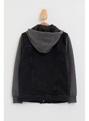 DeFacto Kapüşonlu Jean Ceket Siyah